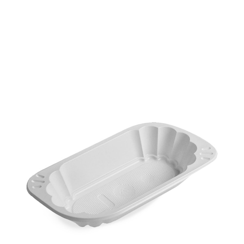 Miska plastová oválná na hranolky bílá (PS) 250 ml (100 ks)